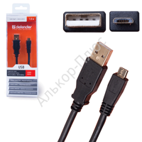 Кабель USB 2.0 AM-MicroBM DEFENDER USB08-06PRO, 1.8м,блистер 87442