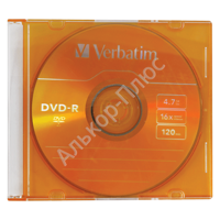 Диск DVD-R(минус) VERBATIM 4,7Gb 16x Colour Slim Case 43557 (ш/к-5570)