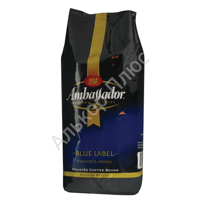 "Кофе в зернах AMBASSADOR ""Blue label"", натуральный, 1000г, вакуумная упаковка, ш/к 00034"