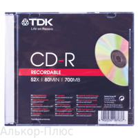 Диск CD-R TDK 700Mb 52x Slim Case TE-ARTS-2390-2 (ш/к-7637)
